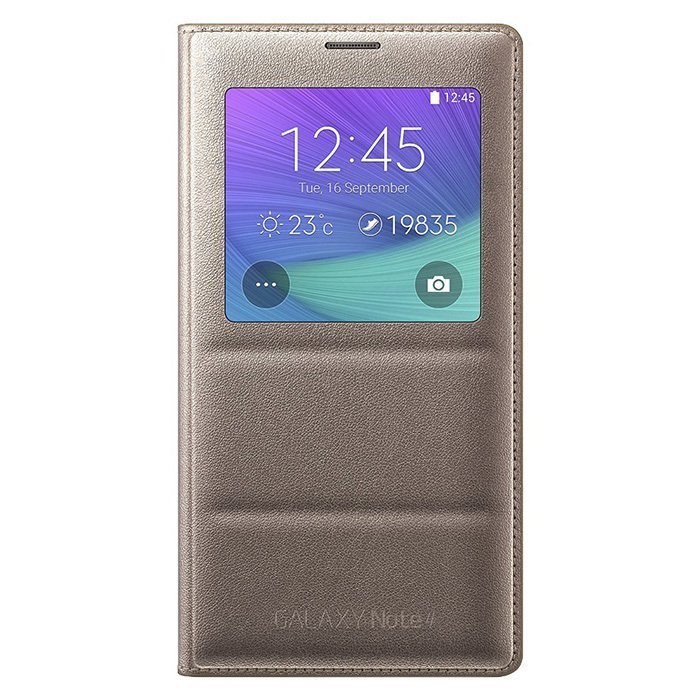 Samsung Flip Cover Leather Case with S-view Auto-lock for Samsung Galaxy Note 4 N910 - Emas
