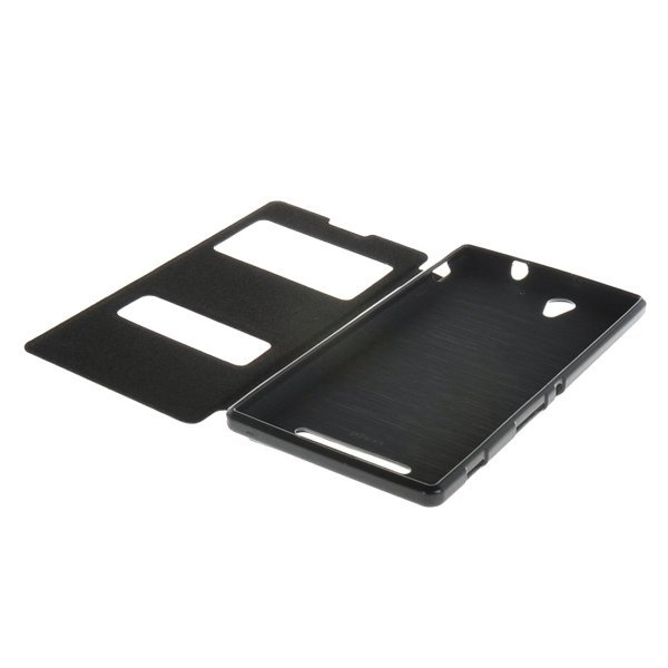 Sand Texture Leather Flip Cover for Sony Xperia C3 (Black) (Intl)