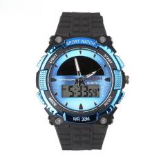 SANDA Solar Digital Men Watches Outdoor Sport Watch Waterproof Multifunction Climbing Dive Led Digital Watches Men's Wristwatch (Blue)