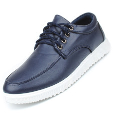 Seanut Men's Casual Leather Shoes Flats Shoes Formal Shoes (Blue)