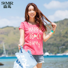 Semir 2016 Summer New Women Candy-colored T-shirt (Red)