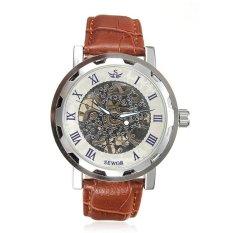 SEWOR Men Sport Skeleton Transparent Brown Leather Quartz Wristwatch
