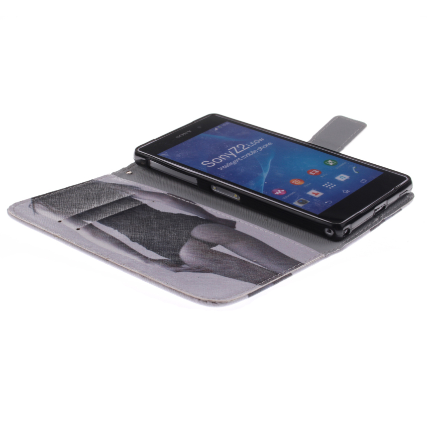 Sexy Gilrl Double Painting with Built in Card Slot Filp Leather Cover for Sony Xperia Z2 (Black/White) (Intl)
