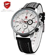 SHARK SH093 Imported Quartz Watch Date Day 24-hour Sub-dial 3ATM Luminous Wristwatch (WHITE)