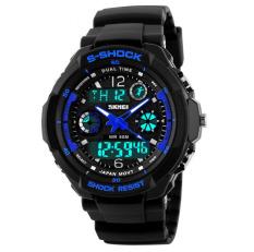 Shock Men's Watches Men Analog Digital Men's Watch Sport Quartz Wristwatch PU Watchband Water Resistant Clock Brand (Blue)
