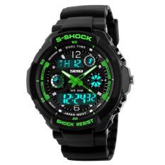 Shock Men's Watches Men Analog Digital Men's Watch Sport Quartz Wristwatch PU Watchband Water Resistant Clock Brand (Green)