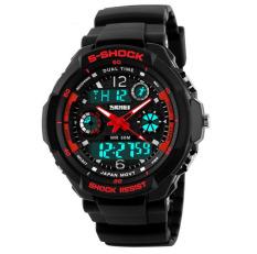 Shock Men's Watches Men Analog Digital Men's Watch Sport Quartz Wristwatch PU Watchband Water Resistant Clock Brand (Red)