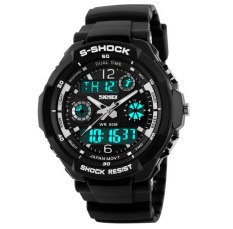 Shock Men's Watches Men Analog Digital Men's Watch Sport Quartz Wristwatch PU Watchband Water Resistant Clock Brand (White)