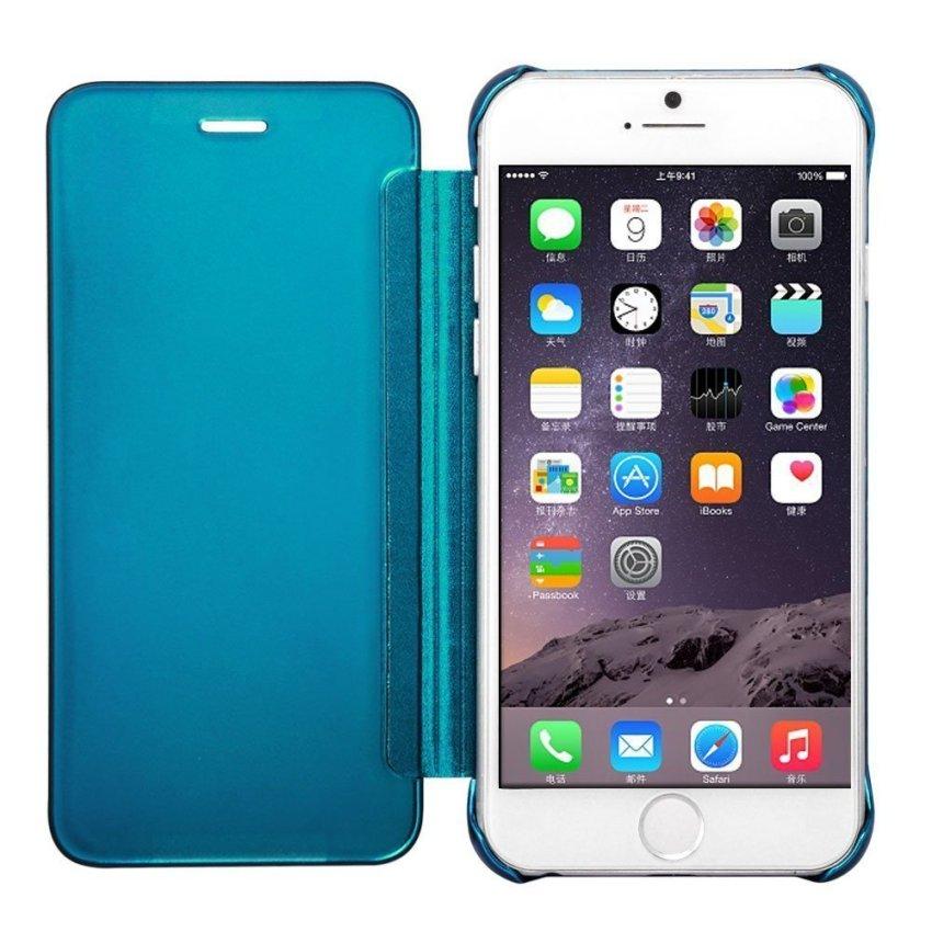 Shockproof Luxury Flip Mirror Hard Clear Slim Cover for iPhone 6 LakeBlue (Intl)