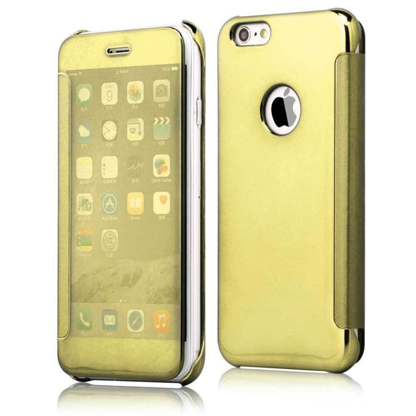 Shockproof Luxury Flip Mirror Hard Clear Slim Cover for iPhone 6 plus Gold (Intl)