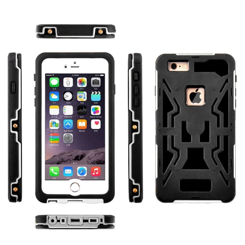 Silicone Gel + PC Waterproof/Shockproof Case for iPhone 6/6s Plus (Black) (Intl)