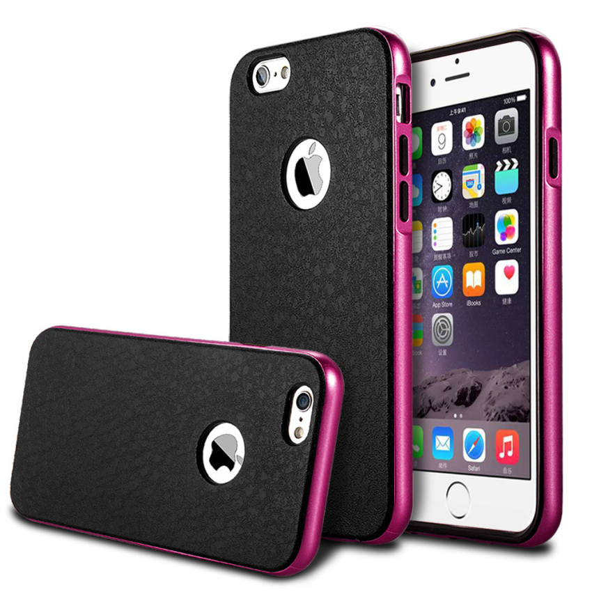 Silicone Metal Frame + Hard PC Hybrid Armor Slim Logo Case for iPhone 6 Plus Pink (Intl)