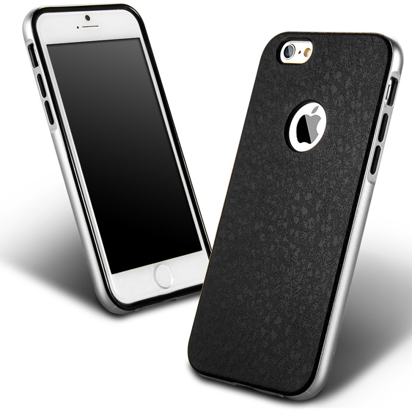 Silicone Metal Frame + Hard PC Hybrid Armor Slim Logo Case for iPhone 6 Silver (Intl)