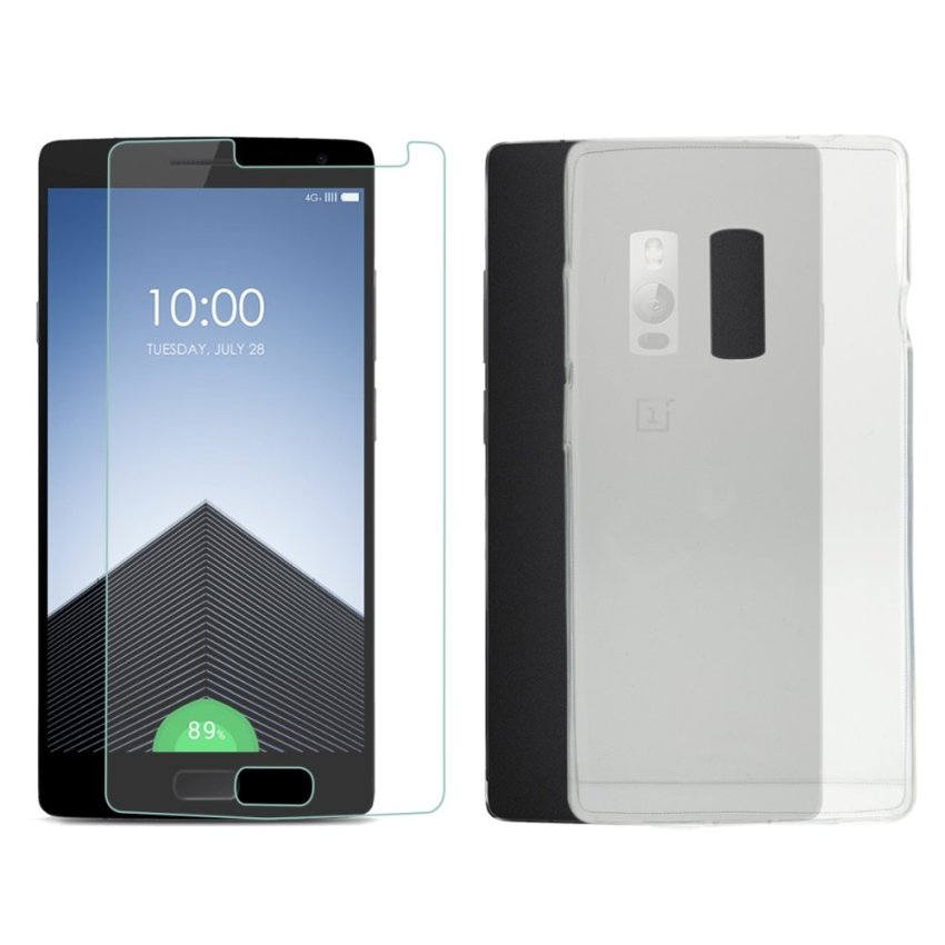 Silicone Protective Case + Screen Protector for OnePlus Two (Transparent) (Intl)