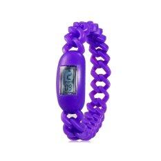 Silicone Waterproof Anion Negative Ion Sports Bracelet Wrist Watch With Calendar Display (Purple)