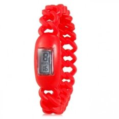 Silicone Waterproof Anion Negative Ion Sports Bracelet Wrist Watch With Calendar Display (Red) (Intl)
