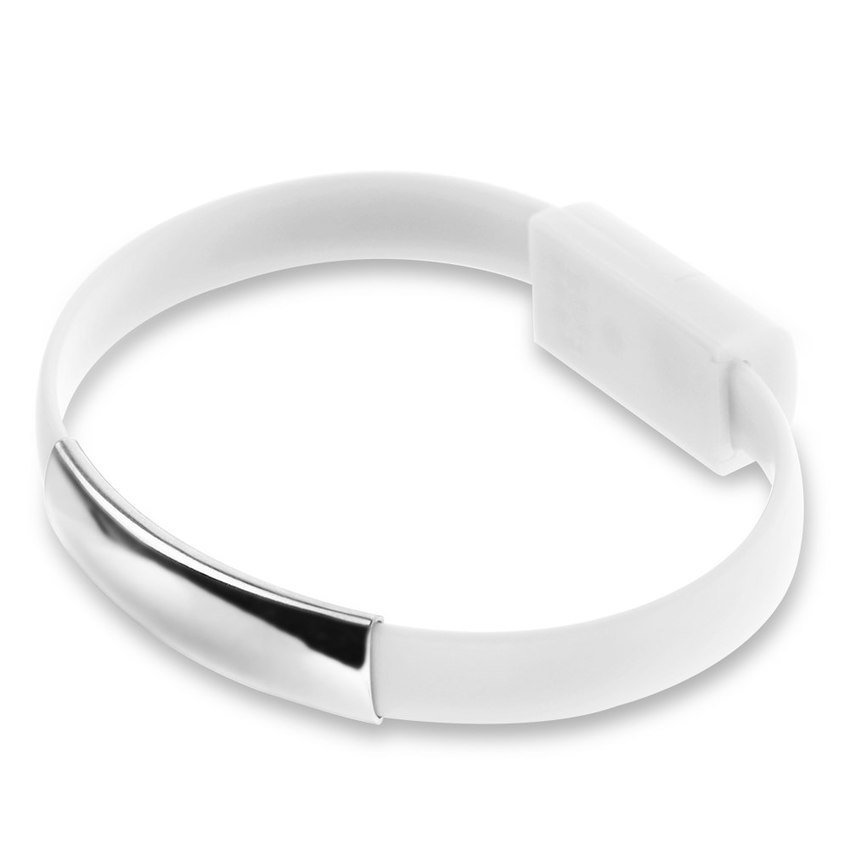Silicone Wrist Bracelet Micro USB to USB for Smartphone - Putih