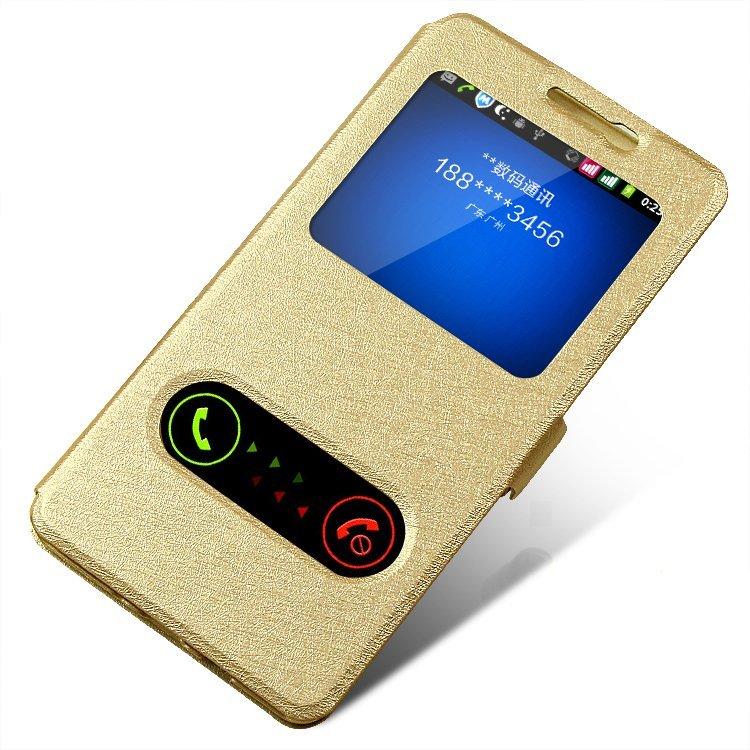 Silk SkinWindow Wallet Flip Leather Cover Original Case for Samsung Galaxy J5 (Gold) (Intl)
