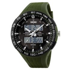 SimpleHome Skmei 1066 Men's Sports Dual Display Outdoor Waterproof Mountaineering Waterproof LED Multi-function Electronic Watch Green - Intl