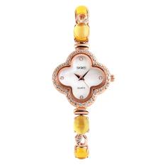 SimpleHome Skmei 1194 Ms. Crystal Clover Diamond Fashion Business Quartz Watch Yellow - Intl