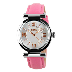 SimpleHome Skmei 9075 Ms. Fashionable Leather Belt Quartz Watch Pink - Intl