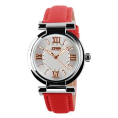 SimpleHome SKMEI 9075 Women's Fashion Watches Women Red Genuine Leather Strap Ladies Wristwatch Quartz Fashion Waterproof Wristwatches