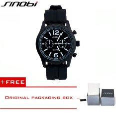 SINIBI 2016 Men's Casual Outdoor Sports Silicone Watch SINOBI Brand Quartz Watch Men Luxury Style Waterproof Wrist Watch9269 (Black) [Buy 1 Get 1 Freebie]