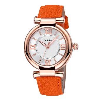 SINOBI Roman Fashion Women Analog Quartz Mvmt Leather Strap Casual Lady Dress Relogios Watch Gold Orange