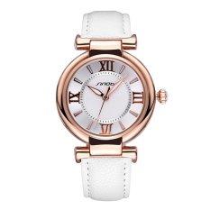 SINOBI Roman Fashion Women Analog Quartz Mvmt Leather Strap Casual Lady Dress Relogios Watch Gold White