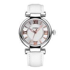 SINOBI Roman Fashion Women Analog Quartz Mvmt Leather Strap Casual Lady Dress Relogios Watch Silver White