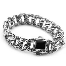 Sirius Jewelry Classic Floral Vintage Silver Black Stainless Steel Bracelet With Gift Box With Black Onyx Clasp (Intl)