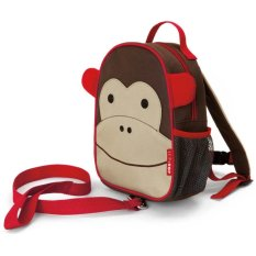 Skip Hop Zoo Let Mini Backpack With Rein Monkey - Cokelat