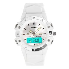 Skmei 0821 Stainless Steel Dual Display 5ATM Fashion Watch Multi-functional Sport Digital Watch (White)