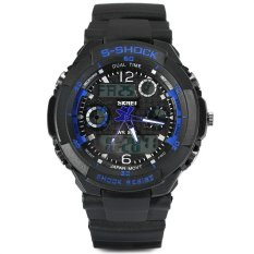 Skmei 0931 Green LED Military Watch With 2 Time Zone Chronograph Double Movts And Round Dial (Blue)