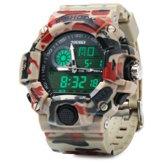 Skmei 1029 Army LED Dual-movt Wristwatch Week Date Stopwatch 5ATM Water Resistant Military Watch For Sports (RED) - Intl