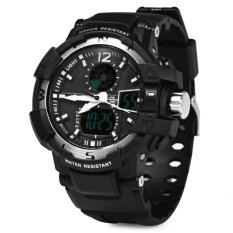 Skmei 1040 Dual Movement 5ATM Water Resistant LED Watch With Week Date Stopwatch (Gray + Black)