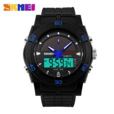 SKMEI 2016 Solar Energy Watch Men's Sports LED Digital Quartz Wrist Watch Solar Power Dual Time Sports Military Watches (Blue)