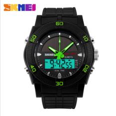 SKMEI 2016 Solar Energy Watch Men's Sports LED Digital Quartz Wrist Watch Solar Power Dual Time Sports Military Watches (Green)
