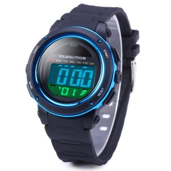 Skmei 5ATM Water Resistant Solar Power LED Sports Watch With Backlight Alarm (Blue)