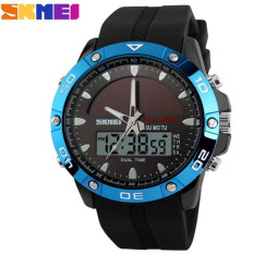 SKMEI Brand Solar Power Energy Sport Watch Men Dual Time Zone Waterproof Digital Quartz Solar Watches (Blue)