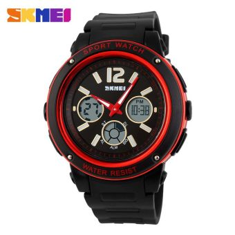 SKMEI Casio Men Sport LED Watch Water Resistant 50m - AD1051 - Black / Red