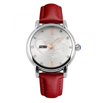 SKMEI Casual Leather Strap 9095CL Water Resistant 30M - Merah