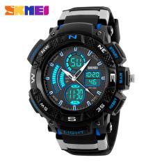 Skmei Dual Display Analog Digital Quartz Watch Fashion Casual Student Outdoor Sport Multifunction Men Sports Watches (Blue)