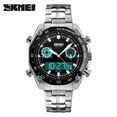 SKMEI Luxury Brand Mens Watches Steel Strap Dual Display Quartz Digital LED Watch Army Military Sport Watches (Black)