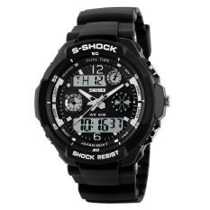 SKMEI Luxury Men Sports Watches Fashion Digital Led 50m Water Mens Quartz Resistant Wristwatches (Black) - Intl