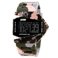 SKMEI Men And Women LED Wrist Watch Sports Watch Outdoor Waterproof LED Watch (Camouflage Pink) (Intl)