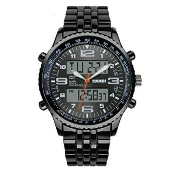 SKMEI Men's Fashion Analog-Digital Black Steel Band Wrist Watch - Black