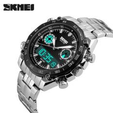 SKMEI Mens Watches Steel Strap Dual Display Quartz Digital LED Watch Luxury Brand Army Military Sport Watches (Black)
