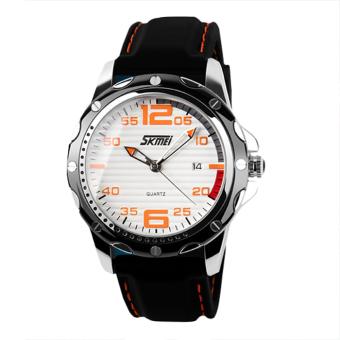 SKMEI Men's Waterproof Silicone Strap Wrist Watch - White + Orange 0992