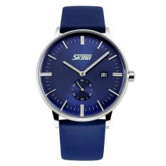 Skmei New Men's Watches Classic Retro Fashion Business Quartz Watch Leather Waterproof Calendar Boys (Intl)